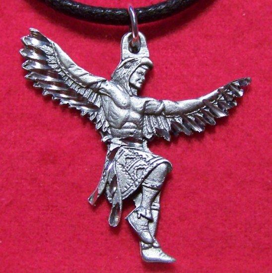 Fine Pewter Tribal Man Dancing w/ Eagle Costume Pendant