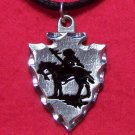 Pewter Arrowhead Man on Horse Pendant Necklace U.S.A.