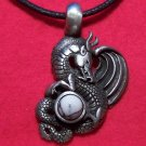 Pewter Magical Dragon Howlite Cabochon (mm) Pendant