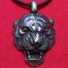 Pewter Ferocious Bengal 3D Tiger Head Pendant Necklace
