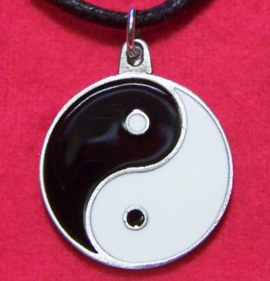 Pewter Black & White Enamel Yin Yang Pendant Necklace