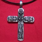 Antiqued Pewter Gothic European Cross Pendant Necklace