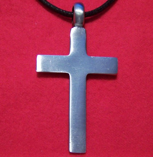 Silver Tone Pewter Big Smooth Cross Pendant Necklace