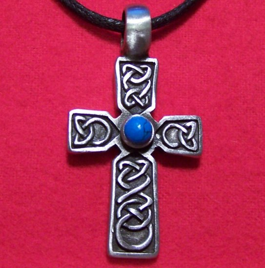 Pewter Celtic Knot Cross Turquoise Cabochon(mm) Pendant