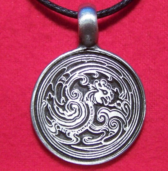 Antiqued Pewter Asian Embossed Dragon Pendant Necklace
