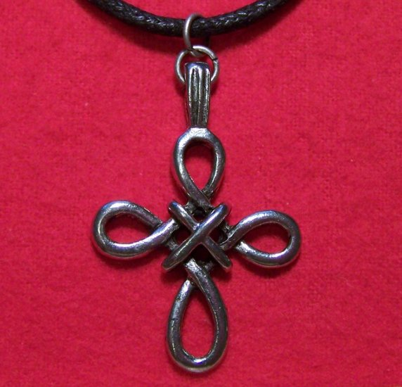 Antiqued Pewter Woven Celtic Cross Pendant Necklace