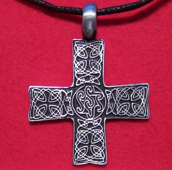 Pewter Celtic Knot Design Cross Pendant Cotton Necklace