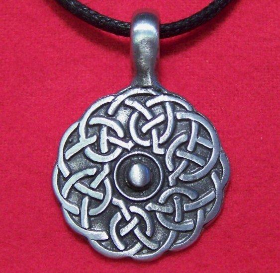 Antiqued Pewter Celtic Knot Circle Pendant Necklace