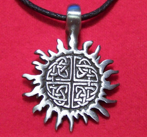 Antiqued Pewter Celtic Knot Tribal Sun Pendant Necklace
