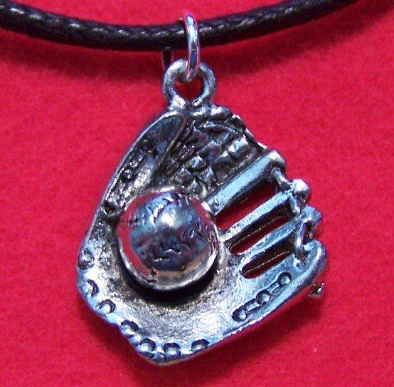 Pewter Baseball Glove & Baseball Pendant Necklace U.S.A.