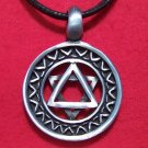 Antiqued Pewter Star of David Pendant Cotton Necklace