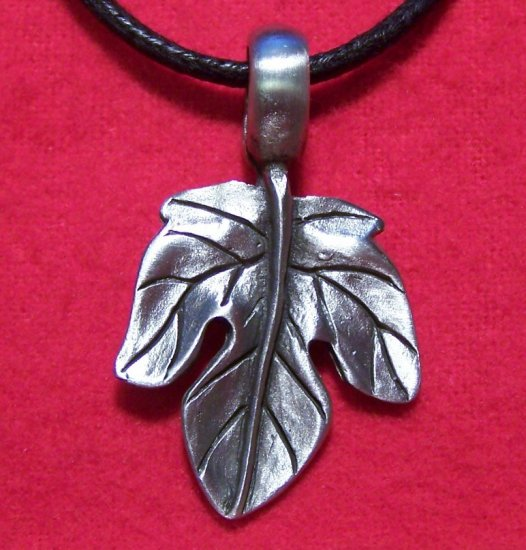 Pewter Maple Leaf Pendant Cotton Cord Necklace