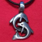 Silver Tone Pewter Double Dolphins Playing Pendant
