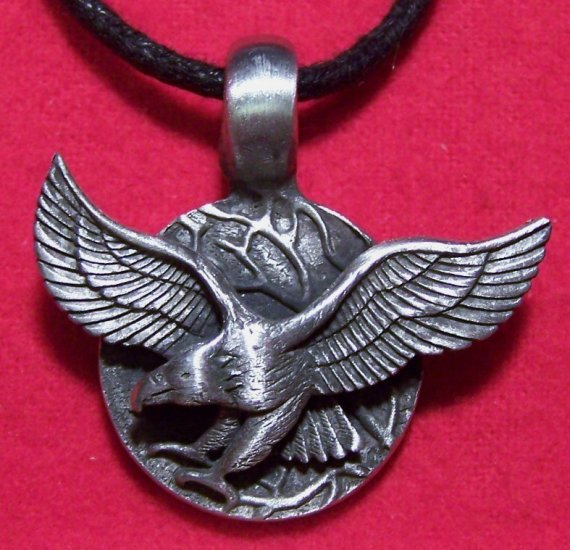 Antiqued Pewter Flying Eagle Coin Pendant Necklace