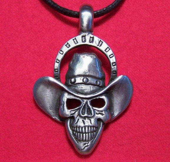 Antiqued Pewter Devious Gothic Dover Skull Pendant