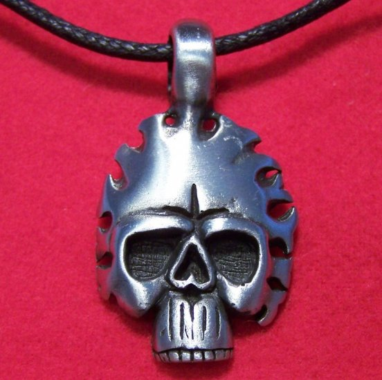 Pewter African Human Skull Mask Tribal Pendant Necklace