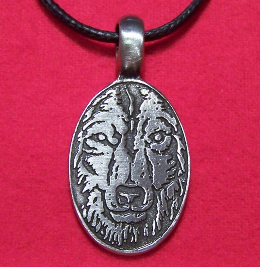 Pewter Sketched Wolf Head Oval Pendant Cotton Necklace