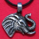 Antiqued Pewter Elephant Head with Tusks Pendant Necklace
