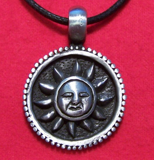 Pewter Thinking Celtic Round Sun Face Pendant Necklace