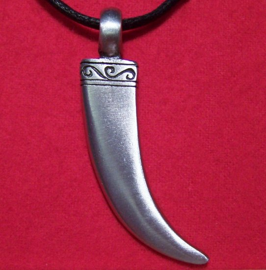 Pewter Silver Tone Horn - Claw - Tooth Pendant Necklace