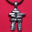Antiqued Pewter Rock Formation Tribal Pendant Necklace