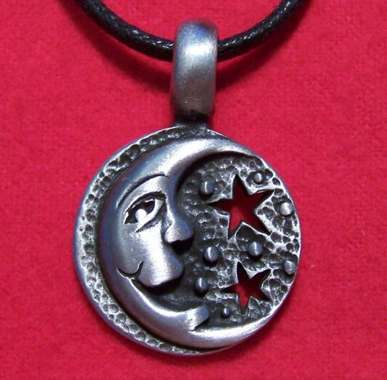Antiqued Pewter Happy Singing Moon with Stars Pendant