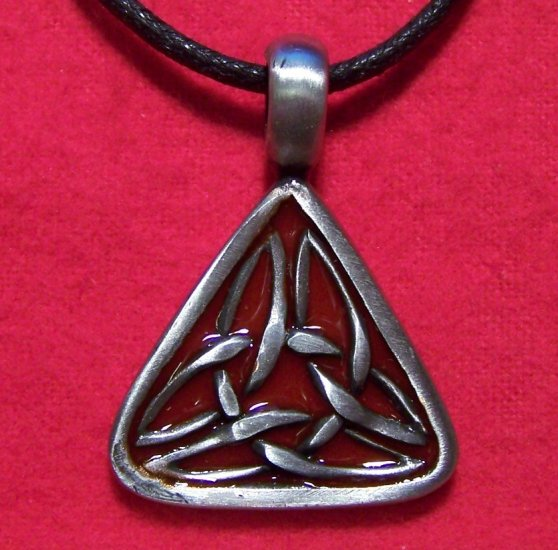 Pewter Blood Red  Celtic Knot Triangle Pendant Necklace
