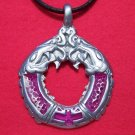 Pewter Double Headed Dragon Cross Pendant Necklace