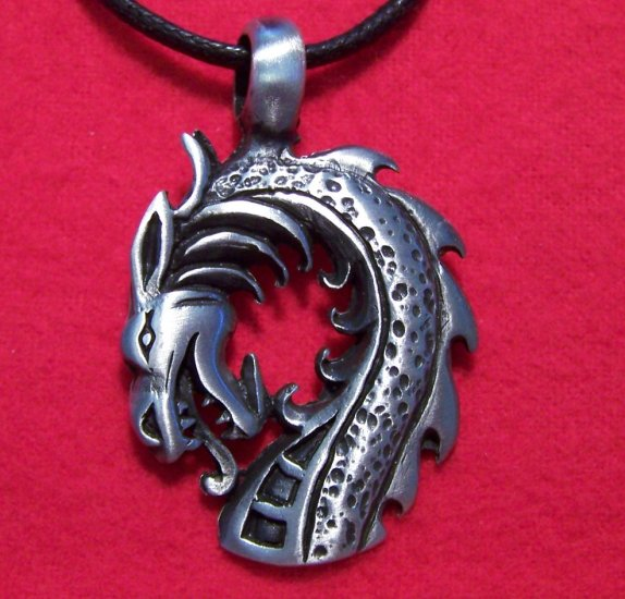 Antiqued Pewter Fire Breathing Dragon Head Pendant