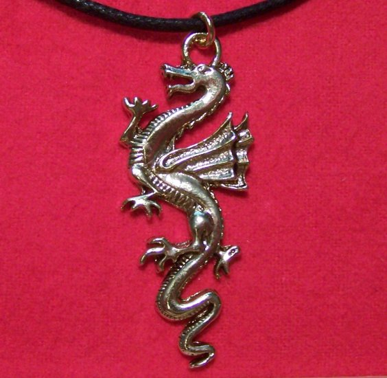 Gold Tone Pewter Full Body Wing Dragon Pendant Necklace