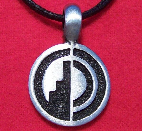Silver Tone Pewter Hogan Round Tribal Pendant Necklace