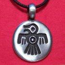 Silver Tone Pewter Thunderbird Round Tribal Pendant