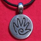 Silver Tone Pewter Hand Drawing Round Pendant Necklace