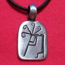 Silver Tone Pewter Kokepelli w/ Flute Rectangle Pendant