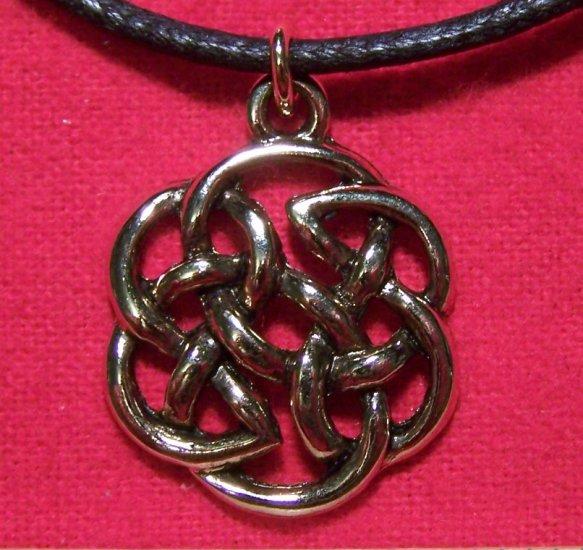 Antiqued Gold Tone Pewter Celtic Knot Design Pendant U.S.A.