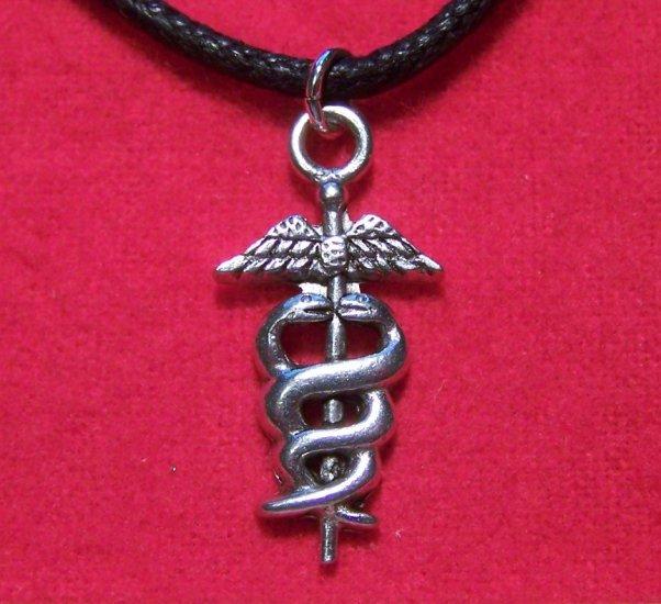 Antiqued Pewter Caduceus Symbol Pendant Necklace U.S.A.