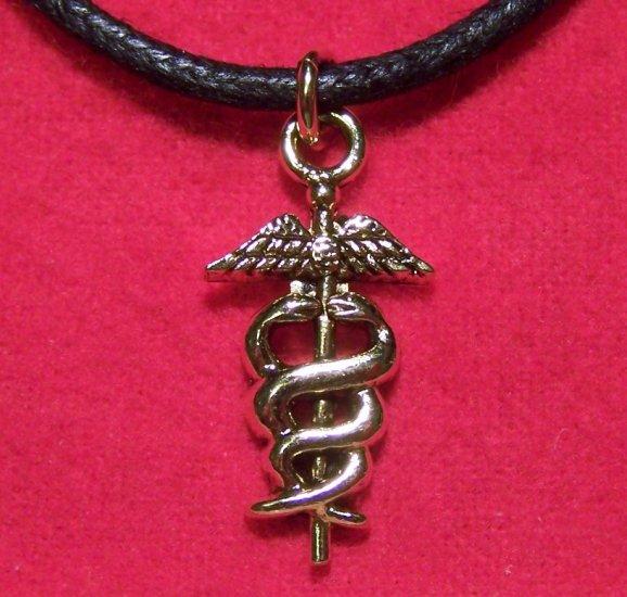 Antiqued Gold Tone Pewter Caduceus Symbol Pendant U.S.A.