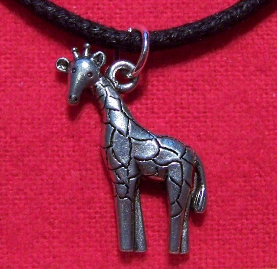 Antiqued Pewter Cute Giraffe Pendant Necklace U.S.A.