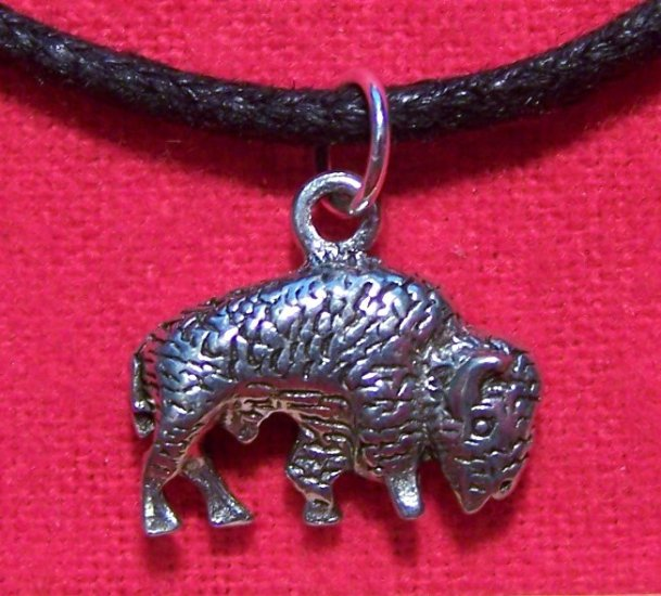 Antiqued Pewter American Buffalo - Bison Pendant Necklace