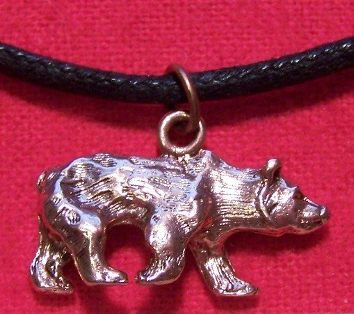 Antiqued Copper Pewter Grizzly Bear Pendant Necklace