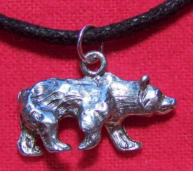 Silver Tone Pewter Full Body Grizzly Bear Pendant U.S.A
