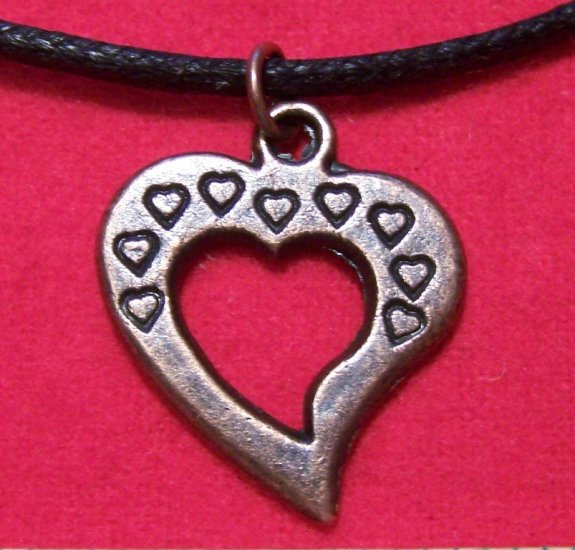 Antiqued Copper Pewter Open Heart Pendant Necklace