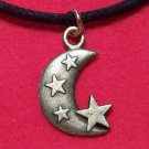 Antiqued Brass Pewter Crescent Moon with Stars Pendant