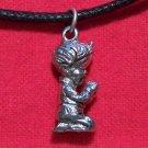 Antiqued Pewter Little Boy Praying Pendant Necklace U.S.A.