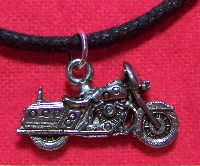 Antiqued Pewter Dressed Motorcycle Pendant Necklace U.S.A.