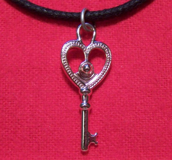 Rose Gold Plated Pewter Key Heart Pendant Necklace