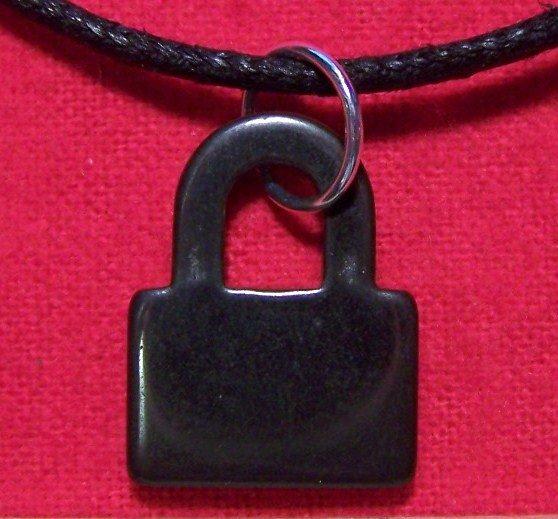 Hemalyke Black Padlock Pendant Cotton Cord Necklace
