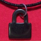 Hemalyke Black Padlock Pendant Cotton Cord Necklace