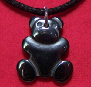 Hemalyke Teddy Bear Pendant Cotton Cord Necklace