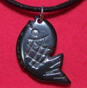 Hemalyke Big Fish Pendant Cotton Cord Necklace